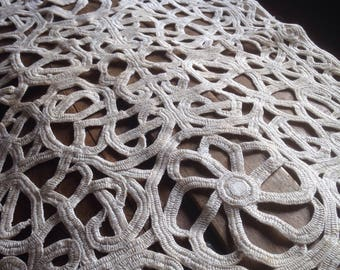 Romantic french antique doily lace making 20 years old hand made outstanding work.