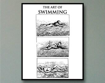 The Art Of Swimming, Swimming Art, Swimming Wall Art, How to Swim, How to Swim Art, Antique Swimming Lessons, Swimming Lesson Wall Art