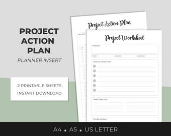 Printable Project Worksheets, Project Planner, Success Planner, Project Management, Project Action Plan, Business Printable, A4,A5,US Letter