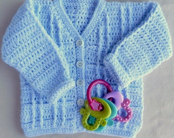 Blue boy's sweater,  Blue baby sweater, baby shower gift