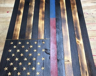 Thin Red/Blue line wood American flag, Charred American Flag, Thin Blue Line wood Flag, Thin Red line wood flag, wood American flag