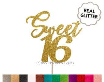 Sweet 16 Cake Topper, 16th Birthday Cake Topper, Sweet Sixteen Cake Topper, Sweet 16 Centrepieces, 16th Birthday Cake Topper, Glitter