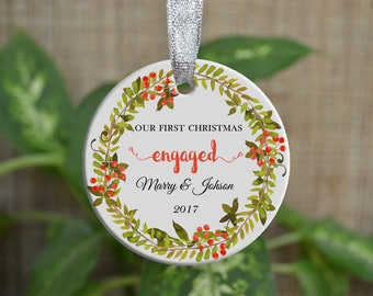 Personalized Christmas Ornament, Our First Christmas engaged, Custom Ornament, Ornament Bride gift, Wedding gift, Christmas gift. o89