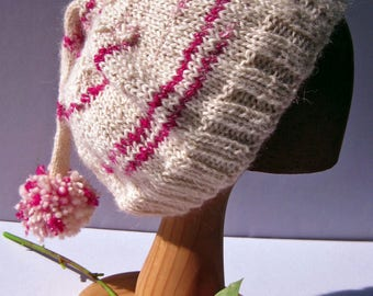 Magenta and White, Alpaca and Merino Handspun Wool, Tassel Adult Beanie