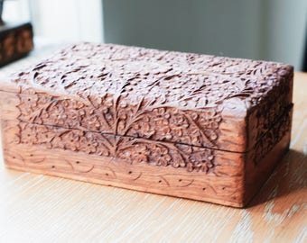 Vintage Hand Carved Wooden Trinket Box from India - Intricate Floral Design!