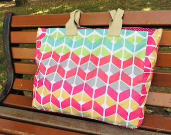 Tote lined bag, shopping bag, beach bag, coated fabric,