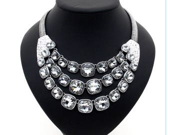 Statement necklace, silver statement necklace, collar necklace, silver collar necklace, silver necklace.