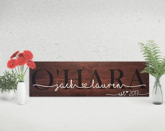 Wooden Last Name Sign | Family Established | Wedding Gift | Bridal Shower Signs | Rustic Decor