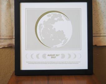 2017 Solar Eclipse Letterpress Poster