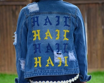 University of Michigan Hand Painted Denim Jacket