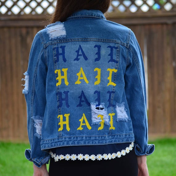 University Of Michigan Hand Painted Denim Jacket