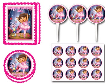 Dora Ballerina Birthday Party Edible Cake Cookie Toppers or Plastic Cupcake Pick Stickers Decoration Baking Supply