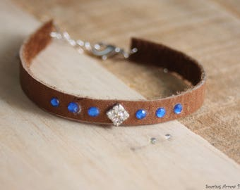 Leather and Blue Bracelet