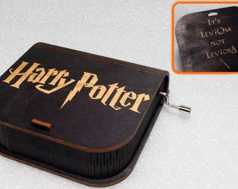 "Harry Potter - Engraved Wooden Music Box - ""Harry's Wondrous World"" - It's LeviOsa, Not LeviosA - Hand Crank Movement"