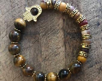 Tiger Eye,  Mookaite  Jasper Bracelet, Hamsa Hand Bracelet, Bohemian Bracelet, Gemstone Bracelet, Calming bracelet