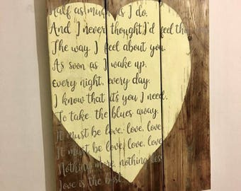 Personalised board with wedding vows, favourite Quotes or Words or dates.