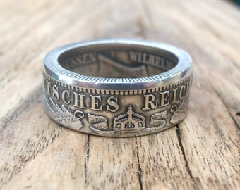 Germany Silver Coin Ring 2 and 3 Marks 1873-1916- Deutsches coin ring - 2 and 3 mark coin ring - Souvenir from Germany