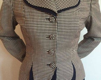 Fabulous Vintage 1940s-1950s Navy/white Wool Skirt Suit