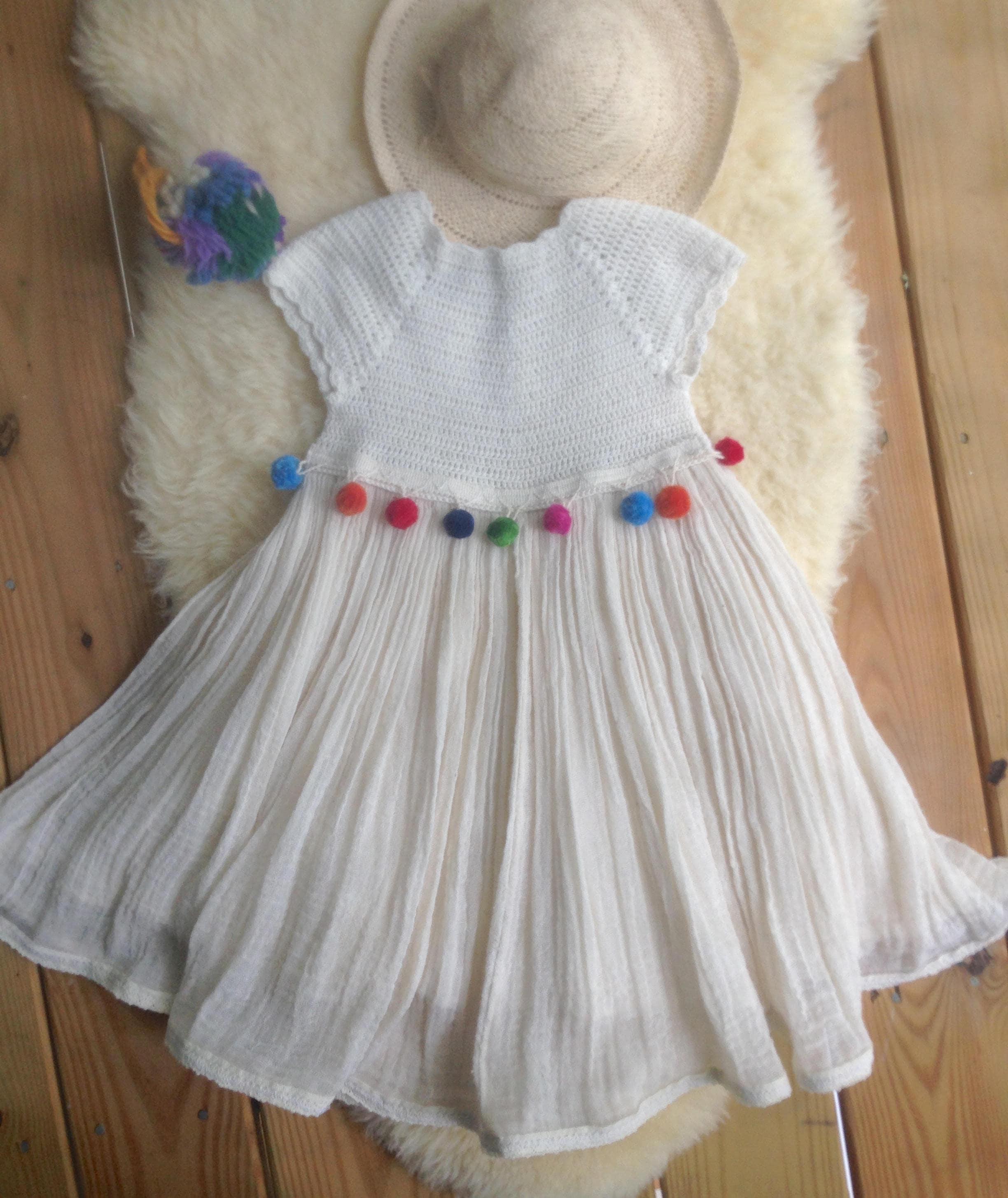 Pompom Dress Bohemian Baby Baby Fashion Boho Kids Hippie Toddler