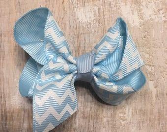 Light Blue and White Chevron Grosgrain Ribbon Bow, Alligator Clip, Barrette, 3 inches wide, Hair bow, Girls, Summer