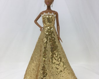 "Gold Sequin Dress-11.5"" Doll Clothes-Doll Clothes-Gold Doll Dress-Princess Dress-Sequin Dress-Gold Formal-Sequin Princess Dress-Dress Up"