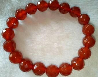 10mm Natural Carnelian faceded Bracelet,Womens Gift,Gemstone Beaded Bracelet