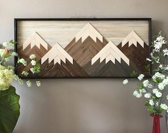 "Mountain Reclaimed Wood Wall Art - 22""x50"""