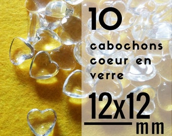 10 cabochons - 12 mm - set of 10 cabochons glass heart shaped 1.2 cm heart