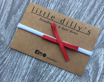 RED HAIR BOW || newborn baby headband, little girl hair bow, hair accessories, nylon band, ponytail, pig tail, hair clip