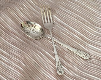 Silver Baby Spoon And Fork,  Mara Silverplate Humpty Dumpty Spoon And Fork, Sheffield Baby Spoon And Fork, Sheffield England Silverplate