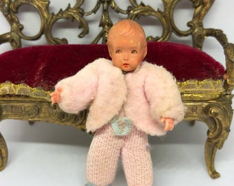 Vintage German Caco Doll, Miniature Little Boy circa 1960s.