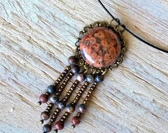 Handmade leopardskin jasper pendant and earrings