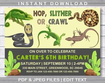 Reptile Invitation, Reptile Birthday Invitation, INSTANT DOWNLOAD, Reptile Party, Snake Invitation, Boy Birthday Invitation, Reptile Invite