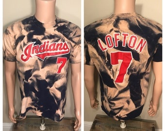 Custom Vintage Cleveland Indians shirt // kenny lofton 1994 tshirt // jersey shirt // adult size large // 90s jacobs field // double sided