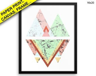Prints Triangle Canvas Wall Art Framed Print Triangle Wall Art Canvas Abstract Art Triangle Abstract Print Canvas Art Prints Triangle Pastel