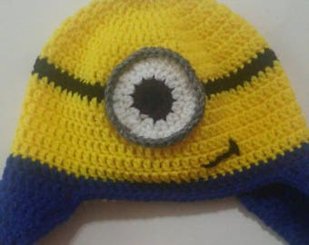 Despicable Me Minion Inspired Crochet Hat Beanie Newborn to Adult