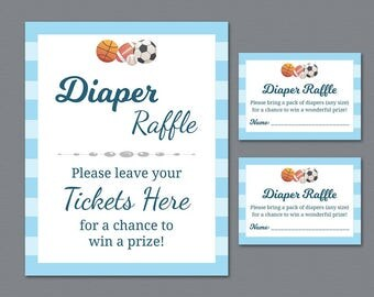 Football Themed Diaper Raffle Tickets Printable, Diaper Raffle Sign, Baby Shower Games Activity, Baseball, Basketball, Soccer Sports, SBS11