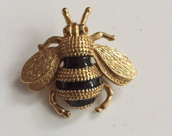 Roman Gold Tone Bumble Bee Brooch with Black Enamel