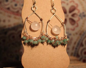 Rose Quartz - Green Dyed Jade - Sterling Silver Ear Wires - Sterling Silver Wire - Copper wire