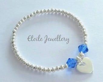 Girls Bracelet,Silver Heart Bracelet, Blue Bracelet, Childrens Bracelets, Stretch Bracelets, Silver Bracelet