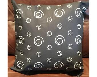 Black and White Swirl Throw Pillow