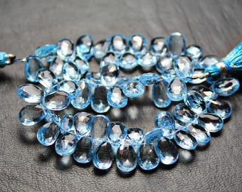 "Natural Blue Topaz Faceted Pear Drop Gemstone Craft Loose Beads Strand 4"" 10mm 9mm"