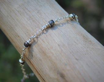 Gunmetal Gray Sterling Silver Bracelet