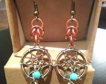 Dreamcatcher earrings with Copper Byzantine weave finish