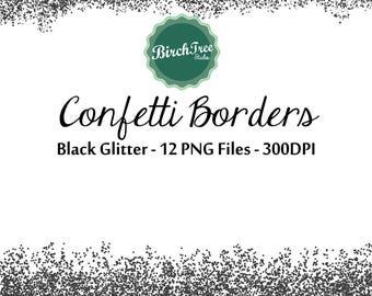 Digital Glitter Borders - Black Confetti Glitter Clipart - Invitation - Scrapbooking - Christmas Decoration - Paper -  Border