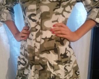 Cotton camouflage print long shirt