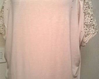 Pink Cotton spandex and lace tunic