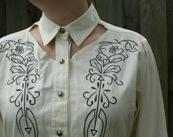 Wrangler Cut-Out Embroidered Button-Up