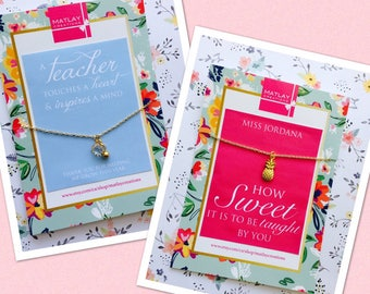 Teacher Appreciation Gift: Clear Charm Necklace with custom card