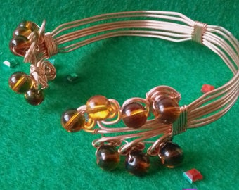 Copper Wire and Beaded Bracelet